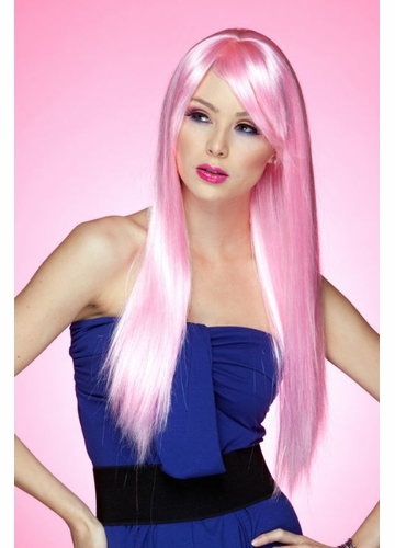 Long Straight Wig with Bangs in Cotton Candy Pink