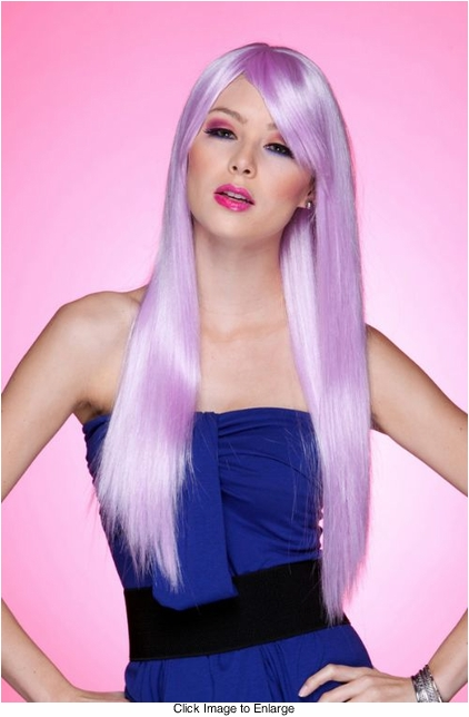 Long Straight Wig with Bangs in Lilac Purple