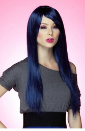 Long Straight Wig with Bangs in Midnight Blue