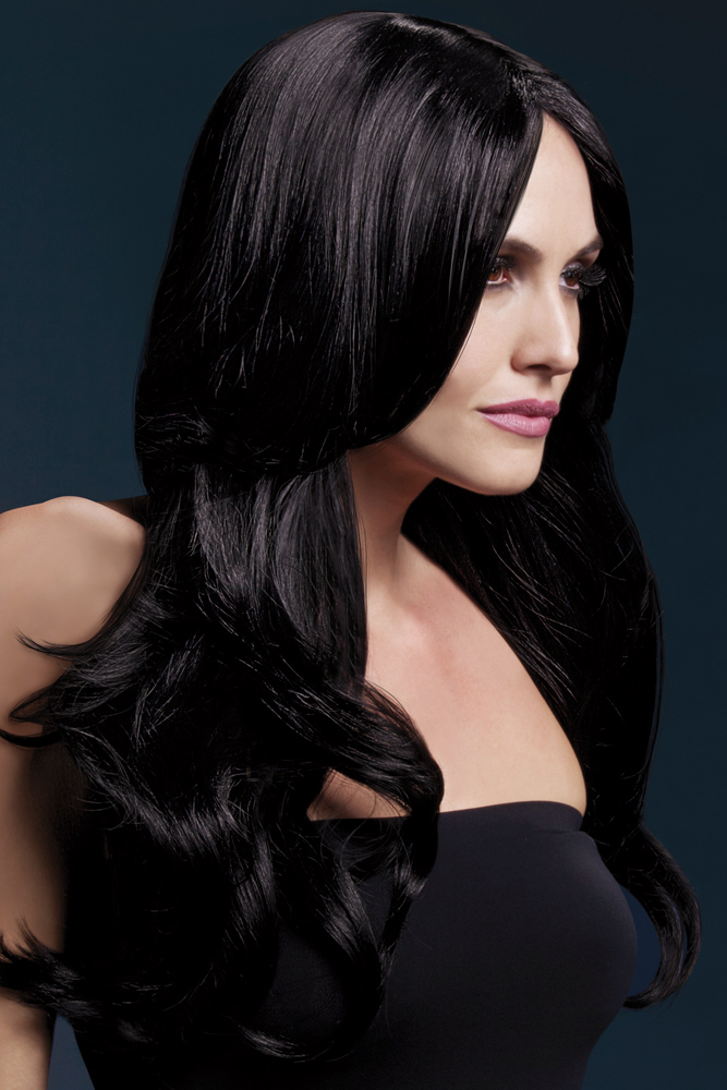 Long Wave Wig Khloe with Middle Part in Black