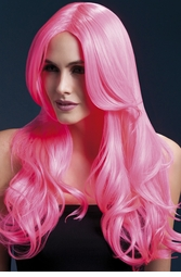 Long Wave Wig Khloe with Middle Part in Neon Pink
