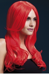 Long Wave Wig Khloe with Middle Part in Neon Red