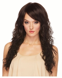 Long Wavy Heat Safe Wig with Side-Swept Bangs