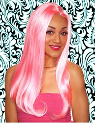 Long Wavy Wig in Cherry Blossom Pink