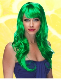 Long Wig with Tousled Curls and Face Framing Bangs in Green