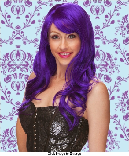 Long Wig with Tousled Curls and Face Framing Bangs in Purple