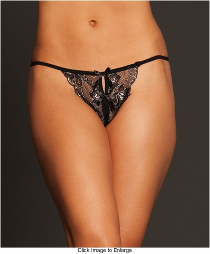 Luxe Gold and Black Lace Open Crotch Thong
