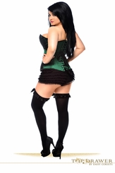 Luxe Green Satin and Lace Corset