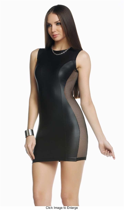 Mason Little Black Dress with Net Side Panels