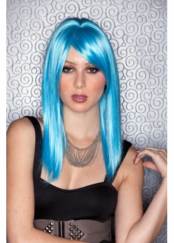 Medium Length Cool Blue Wig
