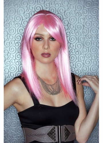 Medium Length Wig in Cotton Candy Pink