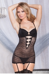 Mesh Garter Dress with Crystal Accents