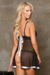 Mesh, Lace and Satin Babydoll and G-string