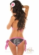 Metallic Denim Pucker Back Bikini  inset 1