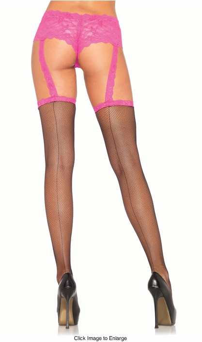 Micro Net Backseam Stockings with Attached Garter Panty