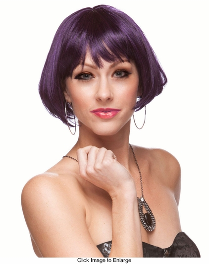 Mini Bob Wig in Purple and Black