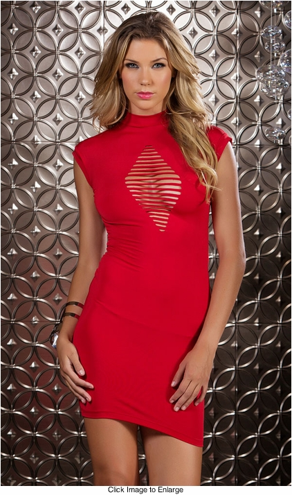 Mini Dress with Diamond Cutout and Open Back
