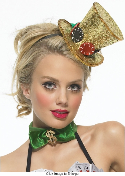 Mini Gold Glitter Top Hat with Dice and Chips