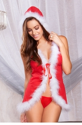 Mrs. Claus Holiday Babydoll with Marabou Trim
