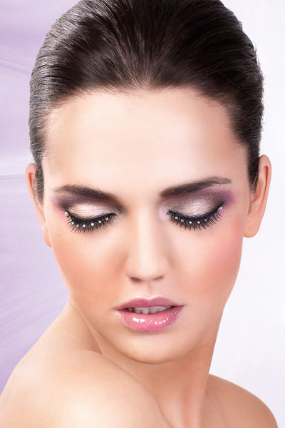 Natural Black Lashes with Clear Crystals