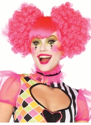 Neon Pink Harlequin Wig with Puff Clip-Ons