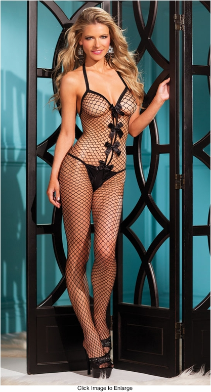 Net Bodystocking with Bow Front