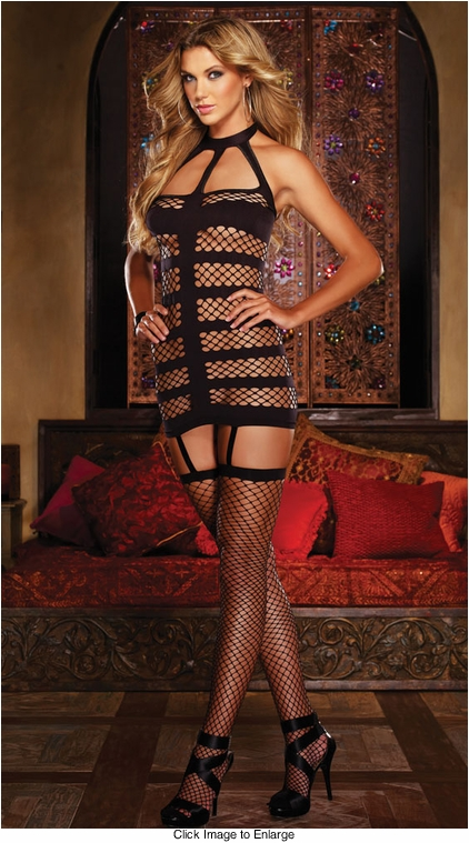 Net Dress with Attached Stockings