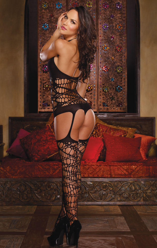 Net Romper with Attached Stockings
