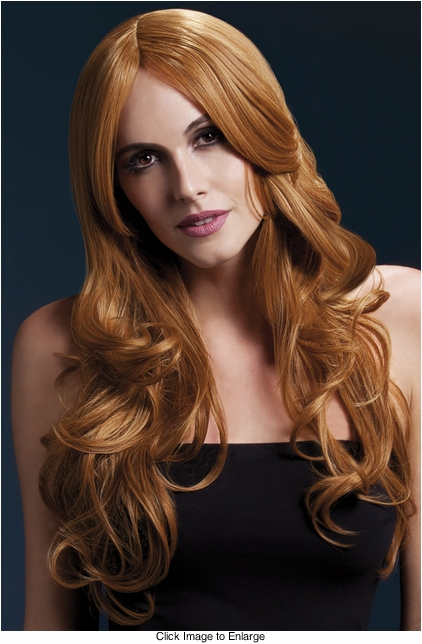 Long Wave Wig Khloe with Middle Part in Auburn