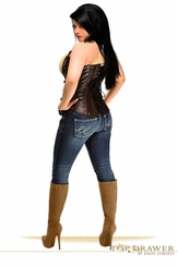 Plus Size Distressed Faux Leather Underbust Corset Top