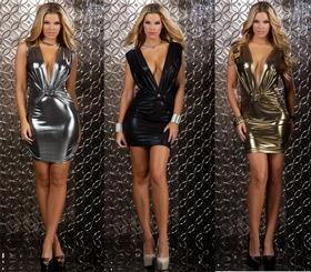 Metallic Mini Dress with Plunging Neckline