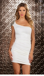 White Mini Dress with Beaded Shoulder