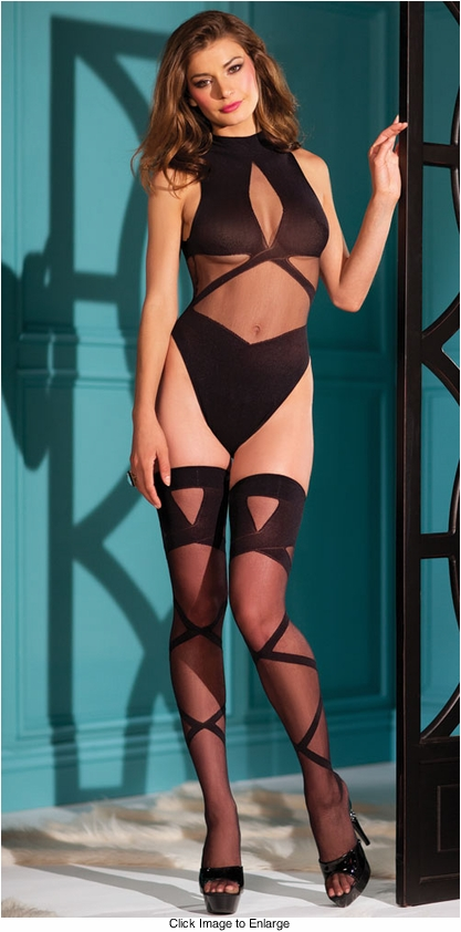 Opaque and Sheer Bodysuit and Stockings