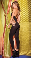 Opaque Footless Bodystocking with Shredded Front and Sides