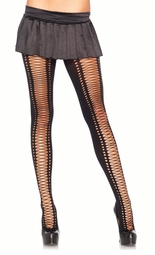 Opaque Pantyhose with Faux Lace-Up Design