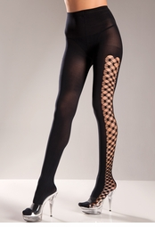 Opaque Pantyhose with Fence Net Sides
