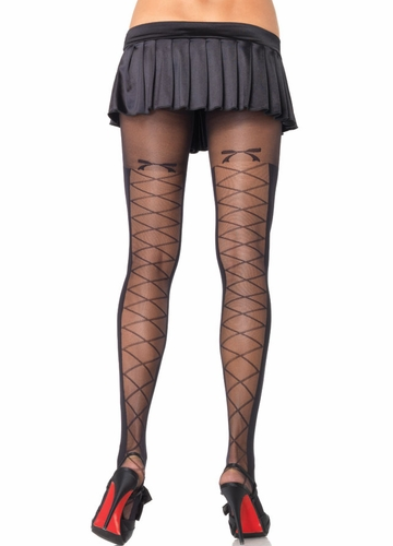 Opaque Pantyhose with Sheer Faux Lace up Back Panel