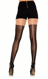 Opaque Pantyhose with Suture Backseam and Sheer Thigh Design