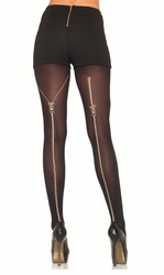Opaque Pantyhose with Zipper Back Seam