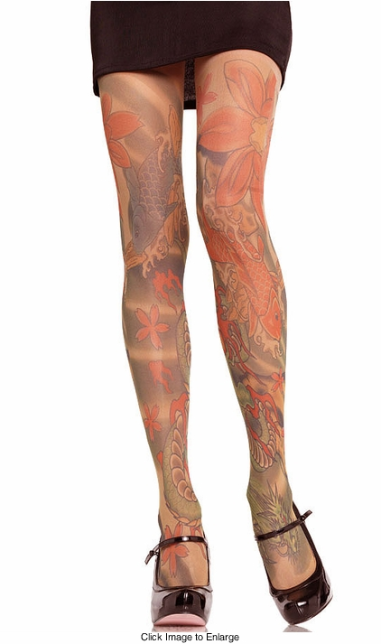 Opaque Tattoo Print Pantyhose