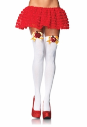 Opaque Thigh High Stockings with Sequin Apple