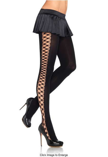 Opaque Tights with Criss-Cross Sides