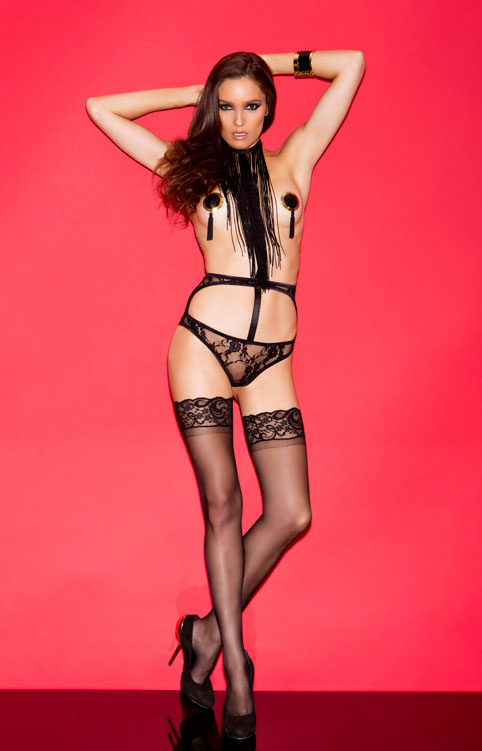 Open Front Fringe Teddy with High Waist Panty