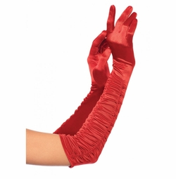 Opera Length Gloves in Ruched Satin