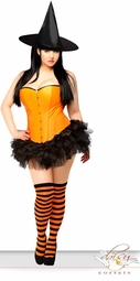 Orange Corset Witch Costume with Hat, Petticoat and Stockings