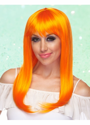 Orange Long Straight Wig with Bangs Classy