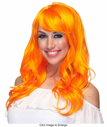 Orange Long Tousled Curl Wig Burlesque