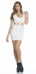 Patras White Dress with Criss Cross Waist