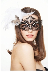 Phoenix Laser Cut Masquerade Mask With Feathers