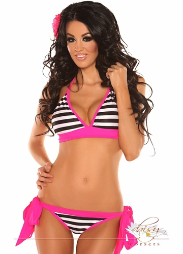 Pin-Up Striped Pucker Back Bikini with Pink Trim